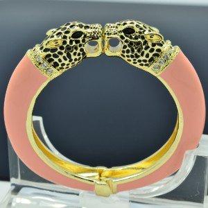 Luxury Pink Enamel 2 Panther Leopard Bracelet Bangle Cuff W Swarovski Crystal