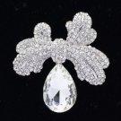 """Bridal Drop Bowknot Flower Brooch Broach Pin 2.4"""" Clear Rhinestone Crystals 5988"""