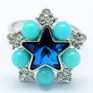 Swarovski Crystals Acrylic Blue Star Cocktail Ring Size Adjustable 267013