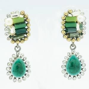Faux Pearl Green Resin Pierced Earring W/ Clear Rhinestone Crystals 00590