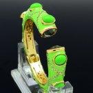 Green Rhinestone Crystal Enamel Acrylic Circle Fashion Bracelet Bangle W/ 00653