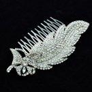 Wedding Bridal Leaf Butterfly Hair Comb W/ Clear Rhinestone Crystals 4756