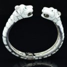 Silver Tone Wihte Enamel 2 Panther Leopard Bracelet Bangle W/ Green Eye 01069