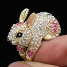 Swarovski Crystals High Quality Cute Pink Bunny Rabbit Cocktail Ring Size 9#