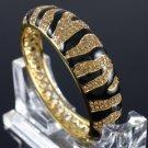 H-Quality Black Enamel Tiger Grain Bracelet Bangle W/ Brown Swarovski Crystals