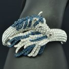 Exquisite Blue Rhinestone Crystals Tail Horse Bracelet Bangle Cuff 20810