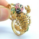 Swarovski Crystals Pink Ladybug Scorpion Cocktail Ring Size 8# SR2109-1