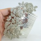3 Rose Hair Comb Tiara W/ Clear Swarovski Crystals Wedding Flower Leaf 0506