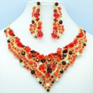 Gorgeous Red Square Rhinestone Crystals Flower Necklace Earring Set NC-5180