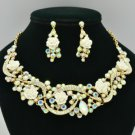 Acrylic Rose Flower Necklace Earring Set Clear A/B Rhinestone Crystals 02677