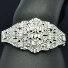 Exquisite Wedding Flower Bracelet Bangle Cuff W/ Clear Rhinestone Crystals