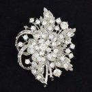 """Wedding Bridal Flower Pendant Brooch Pin 2.5"""" w/ Clear Rhinestone Crystals 4646"""