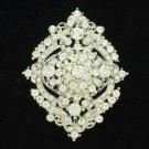 "Clear Rhinestone Crystals Flower Brooch Broach Pin 2.4"" Pendent Wedding 3797"