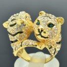 H-Quality Animal Brother 2 Tiger Ring Size 7# W Clear Swarovski Crystal SR2018-2
