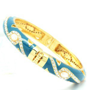 H-Quality Swarovski Crystals Blue Enamel Faux Pearl Bracelet Bangle SKCA1184M-8