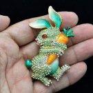 Swarovski Crystals Radish Green Bunny Rabbit Brooch Broach Pin SBA4474-2