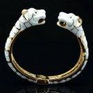 Gold Tone Wihte Enamel 2 Panther Leopard Bracelet Bangle W/ Green Eye 01069