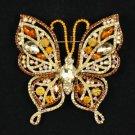 "Rhinestone Crystals Fashion Brown Butterfly Brooch Broach Pin 3.7"" 4920"