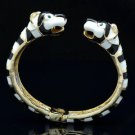 Gold Tone Fashion Enamel 2 Panther Leopard Bracelet Bangle W/ Green Eye 01069