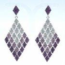 "Purple Diamond Square Dangle Pierced Earring Rhinestone Crystal 3.2"" 7444"