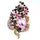 "Multicolor Floral Flower Brooch Broach Pin 3.5"" W/ Rhinestone Crystals 6023"