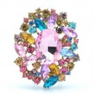 "Vintage Style Multicolor Flower Brooch Broach Pin 2.5"" W Rhinestone Crystal 4888"