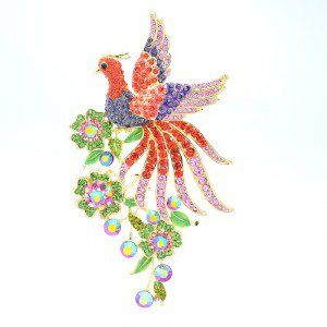 "Vogue Animal Bird Peacock Brooch Pin W/ Rhinestone Crystals 5.4"" OFA1756"
