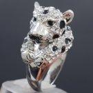 Swarovski Crystals High Quality Panther Leopard Cocktail Ring Size 6# SR1551-2