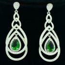 Dangle Pierced Green Zircon Teardrop Earring W/ Rhinestone Crystals 21507