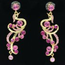 Gold Tone Peafowl Peacock Pierced Earring W/ Pink Swarovski Crystals SE0856