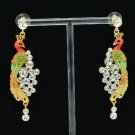 High Quality Animal Swarovski Crystals Peafowl Peacock Pierced Earring SEA0837