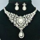 Wedding Flower Necklace Earring Set w/ Clear Rhinestone Crystals SET760