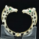 Black Enamel 2 Giraffe Bracelet Bangle Cuff W/ Clear Rhinestone Crystals L1074