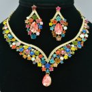 Rhinestone Crystals Multicolor Flower Necklace Earring Set W/ Gold Tone 5535