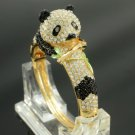 Gold Plated Animal Panda Bracelet Bangle W/ Clear Swarovski Crystals 20260