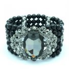 Elastic Black Imitation Pearl Flower Bracelet Bangle W/ Rhinestone Crystals 5166