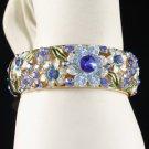 High Quality Swarovski Crystals Blue Flower Bracelet Bangle Cuff
