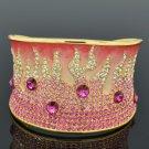 H-Quality Enamel Flame Bracelet Bangle Cuff W/ Pink Swarovski Crystal SKA1963M-1