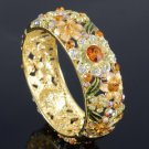 High Quality Brown Flower Bracelet Bangle Cuff W/ Swarovski Crystals 1305M-4