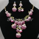 H-Quality Purple Swarovski Crystals Cherry Apple Strawberry Necklace Earring Set