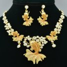 H-Quality Topaz Swarovski Crystal Gold Fish Goldfish Necklace Earring Set SN3180