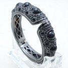 High Quality Enamel Bracelet Bangle W/ Black Rhinestone Crystals 00749