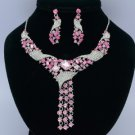 Silver Tone Flower Necklace Earring Jewelry Set W/ Pink Rhinestone Crystal 02269
