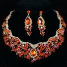 Gold Tone Teardrop Flower Necklace Earring Set W/ Red Rhinestone Crystals 02162