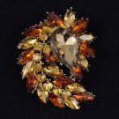 "Vintage Style Flower Pendant Brooch Pin 2.7"" Brown Rhinestone Crystals 4993"