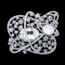 "8805916 Bridal Flower Brooch Pin 3.1"" W/ Clear Rhinestone Crystals"