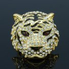 High Quality Tiger Cocktail Ring Size 9# w/ Clear Swarovski Crystals SR1618-5