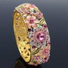 Swarovski Crystals High Quality Floral Flower Bracelet Bangle Cuff Pink 1305M-1
