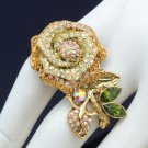 Vintage Style Yellow Rose Flower Ring Size 6#&7# W/ Swarovski Crystals SR2099-1