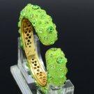 Adorable Green Enamel Vogue Bracelet Bangle Cuff W/ Rhinestone Crystals 00746